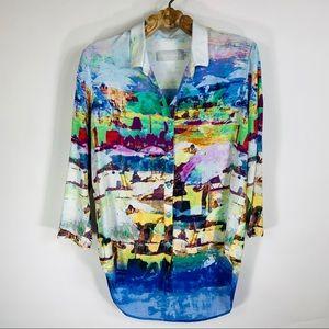 Jams World Watercolor Shirt Coverup Hawaii Small